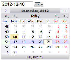 Date picker screenshot